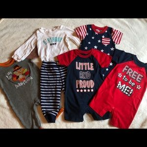 Lot of 5 Baby Boy Assorted Holiday Onesies